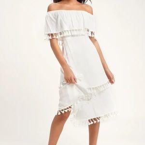 Lulu's Pensacola White Tassel Midi-Dress NWT